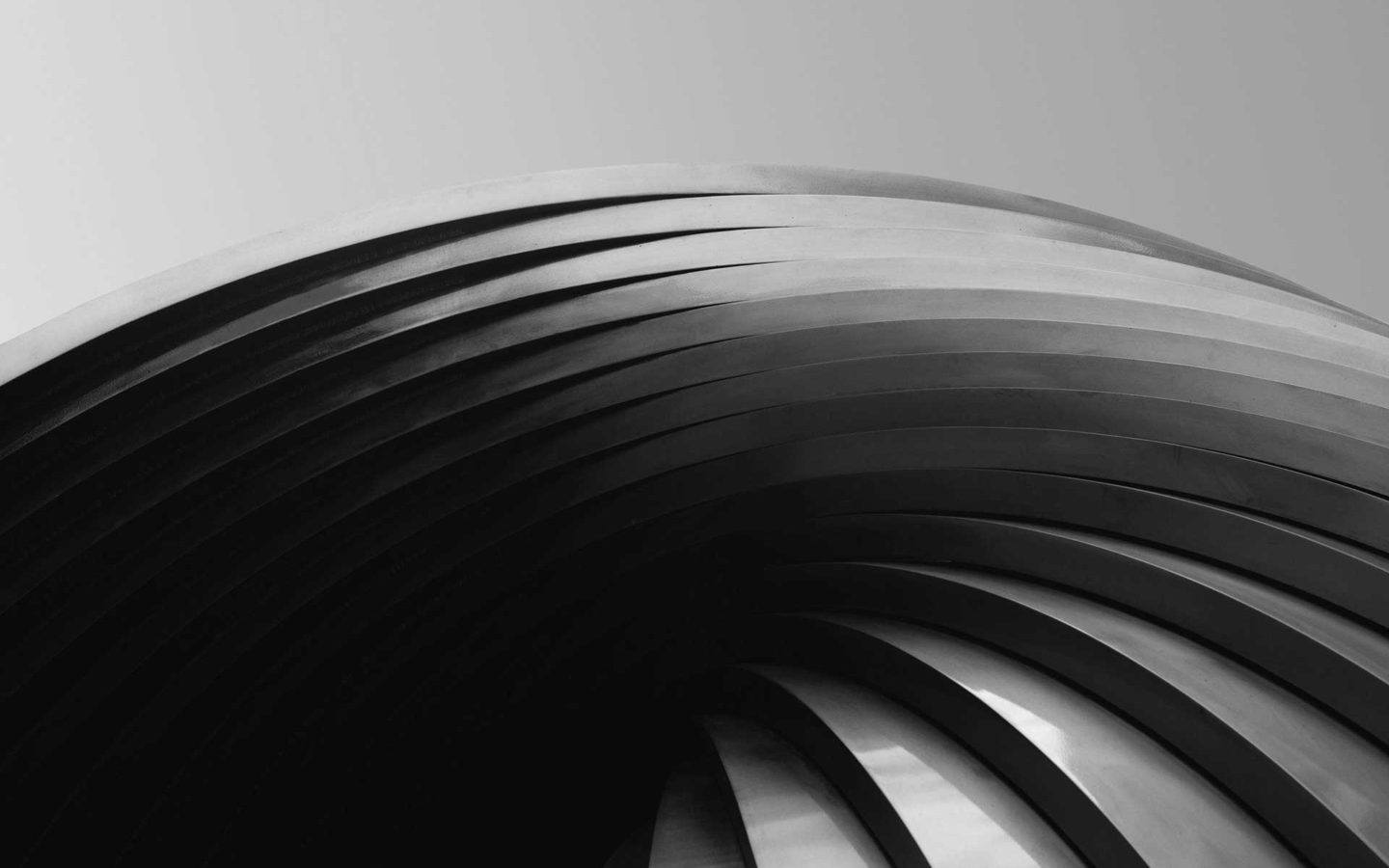 black and white abstract curved architecture